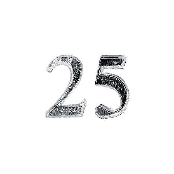 Wachs Jubiläumszahl 25 25mm silber