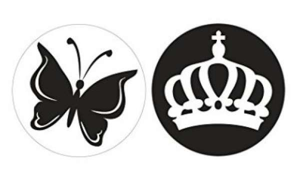 Labels Schmetterling+Krone 30mm
