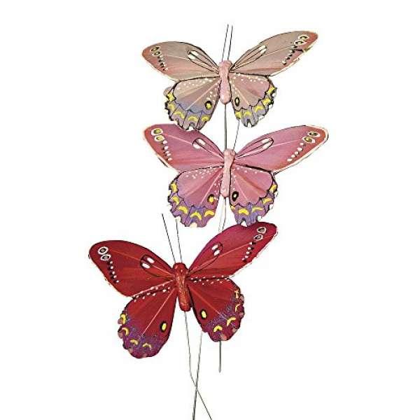 Federschmetterling 10cm rosa sort.