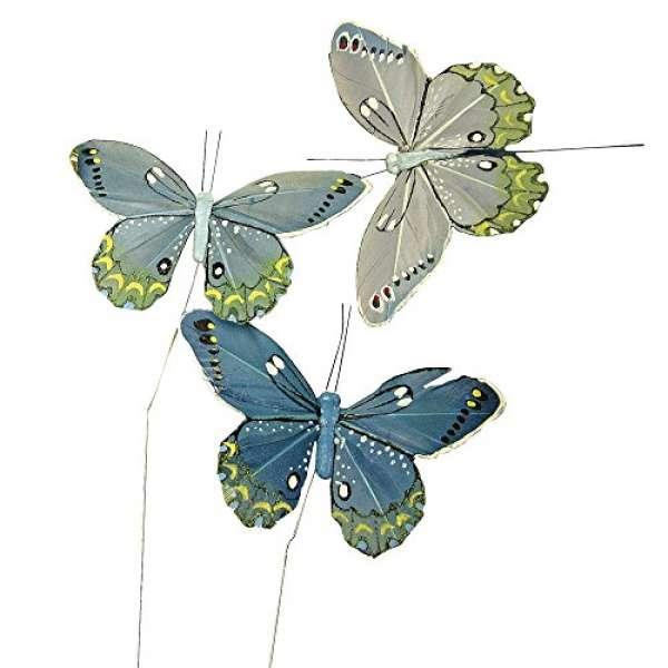 Feder Schmetterling 10cm blau