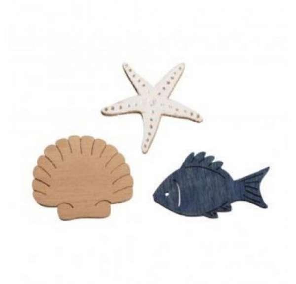 Holz Streuteile Fisch,Muschel,Seestern