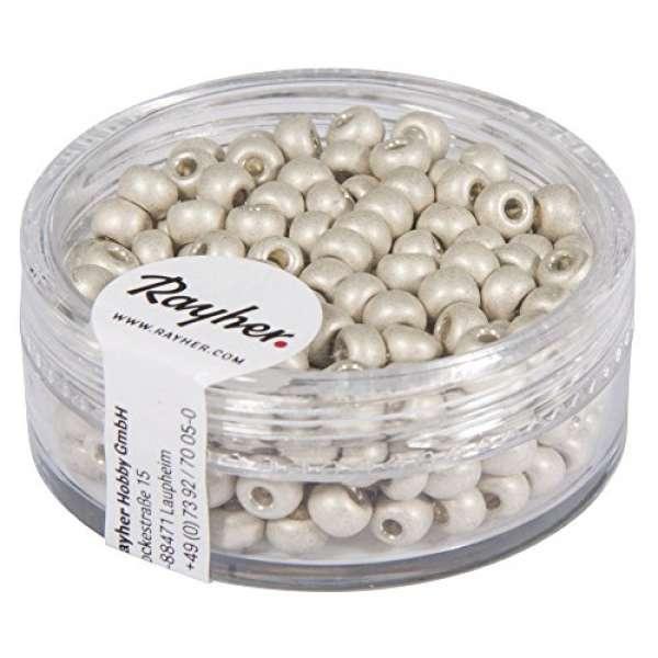 Metallic-Rocailles 4mm weiß